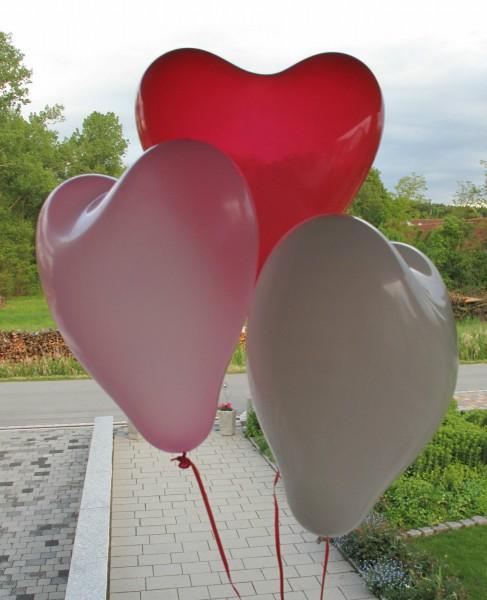 15 Stück Ballonherzen in rot - weiß - rosa