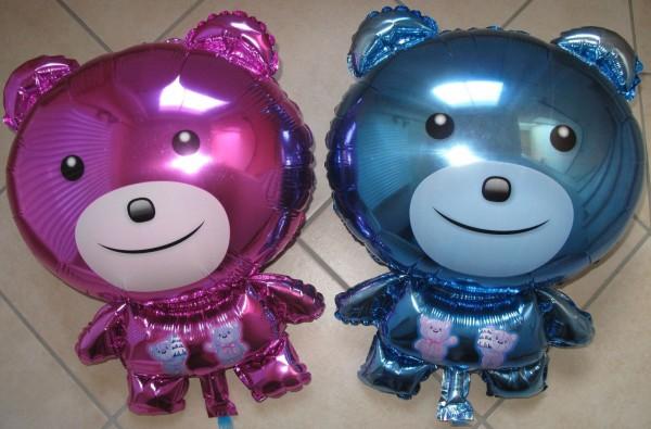 Teddybär-Ballon in rosa oder blau
