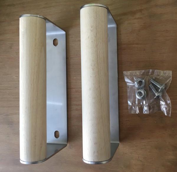Edelstahlgriffe mit Holzeinlage (2er-Set) f. Roleba Rotisserie Kugelgrillaufsatz